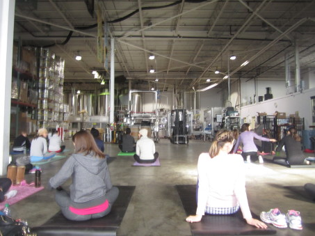 beer yoga in the brewery