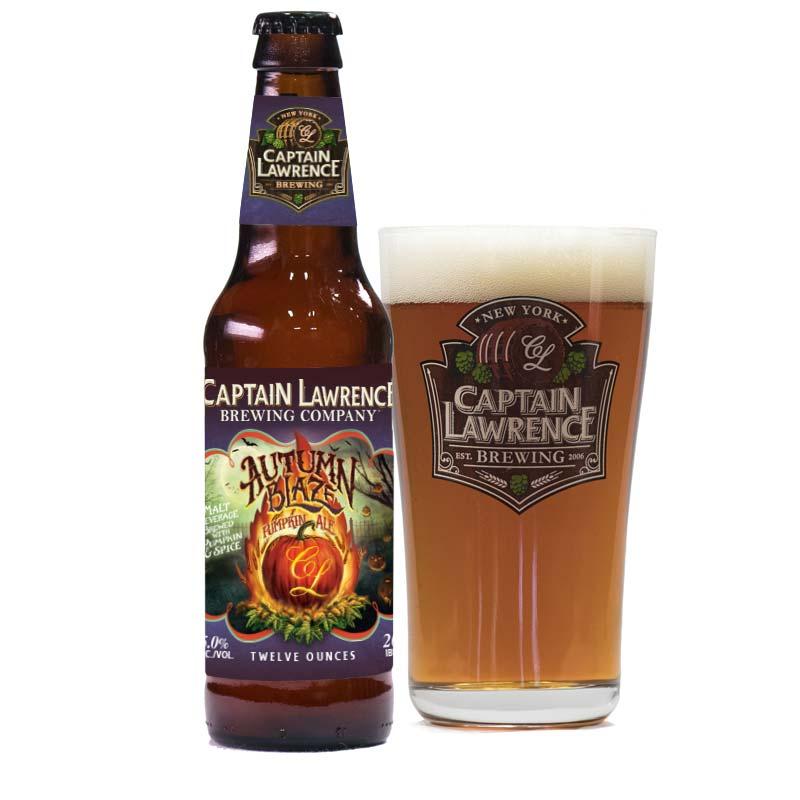 autumn blaze pumpkin ale bottle with pint
