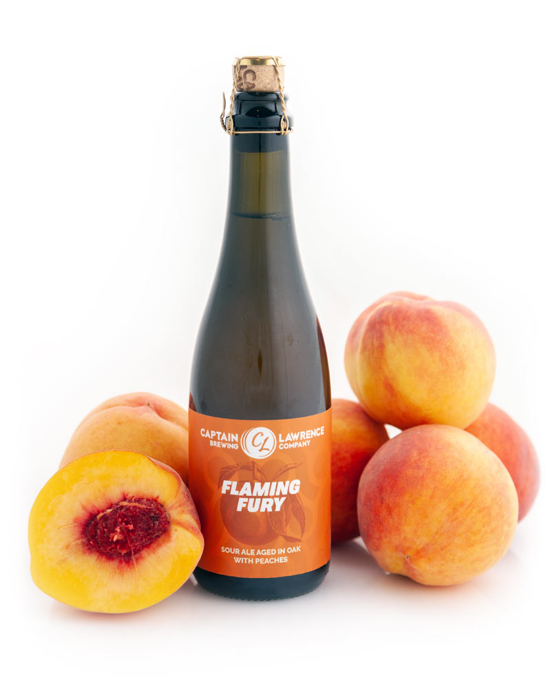 flaming fury bottle with peaches