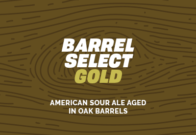 Beer label. Barrel Select Gold- American Sour Ale Aged in Oak Barrels.