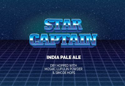 star captain label. brewed with 3 stars brewing