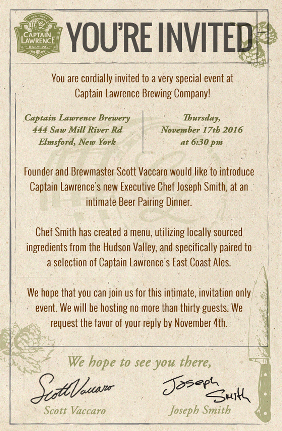 Captain Lawrence Brewing Company Beer Dinner Invitation