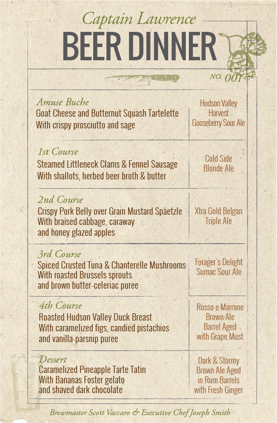 Captain Lawrence Brewing Company Beer Dinner Menu