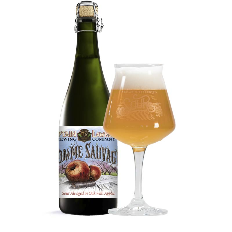 Pomme Sauvage Sour Ale - Bottle and glass image