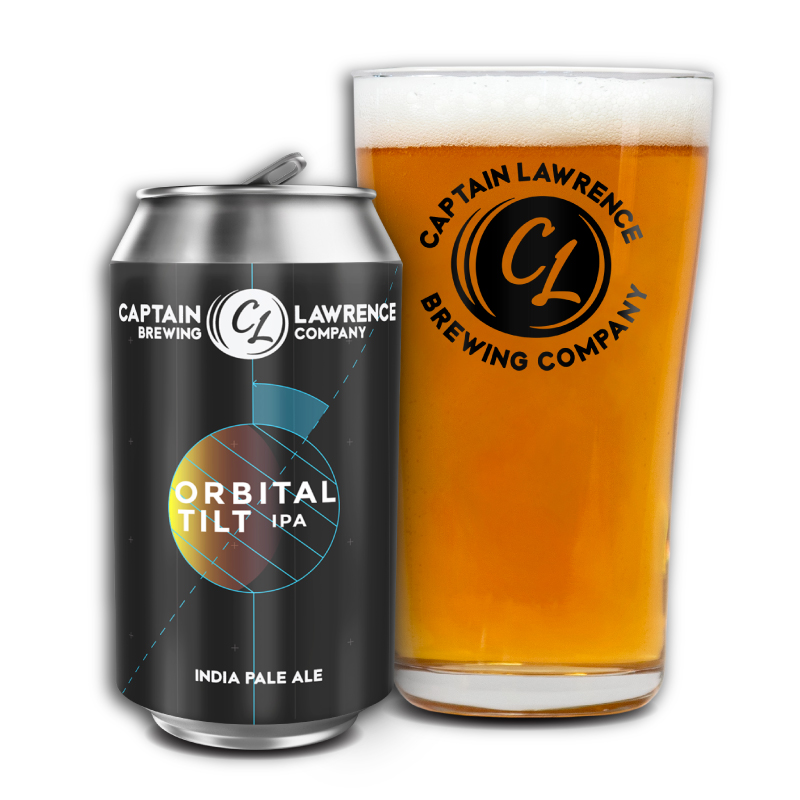 Orbital Tilt I.P.A. can with full pint glass