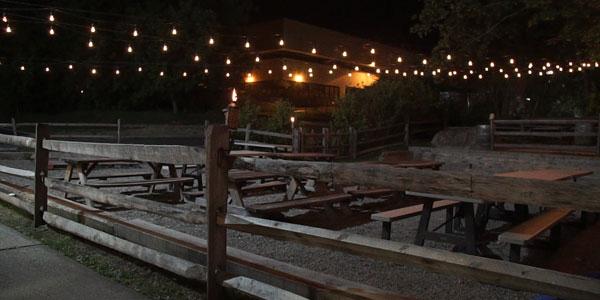 night shot of the beer garden