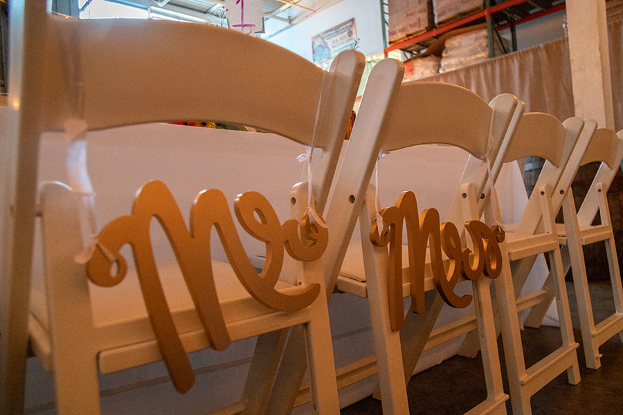 Mr. and Mrs. seating for Bride and Groom