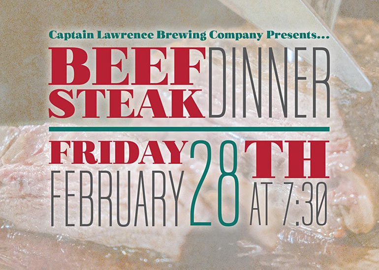 Beefsteak Dinner. Friday, February 28th at 7:30pm. Get Your Tickets Today!