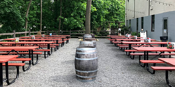 Shot of the beer garden in the day time.