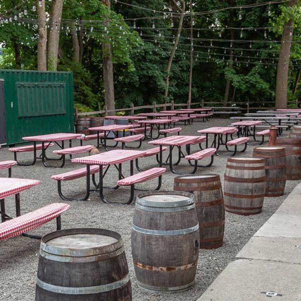 Elmsford outdoor beer garden area