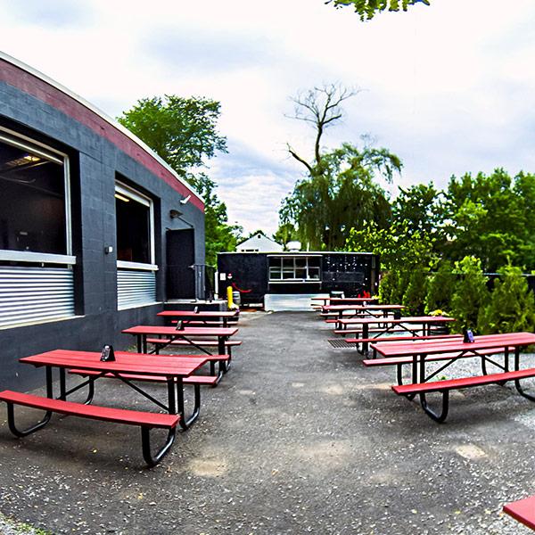 Outdoor beer garden at Captain Lawrence Barrel House